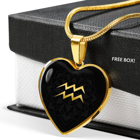 Gold on Black Aquarius Zodiac Astrology  Heart Pendant Necklace - Lyghtt