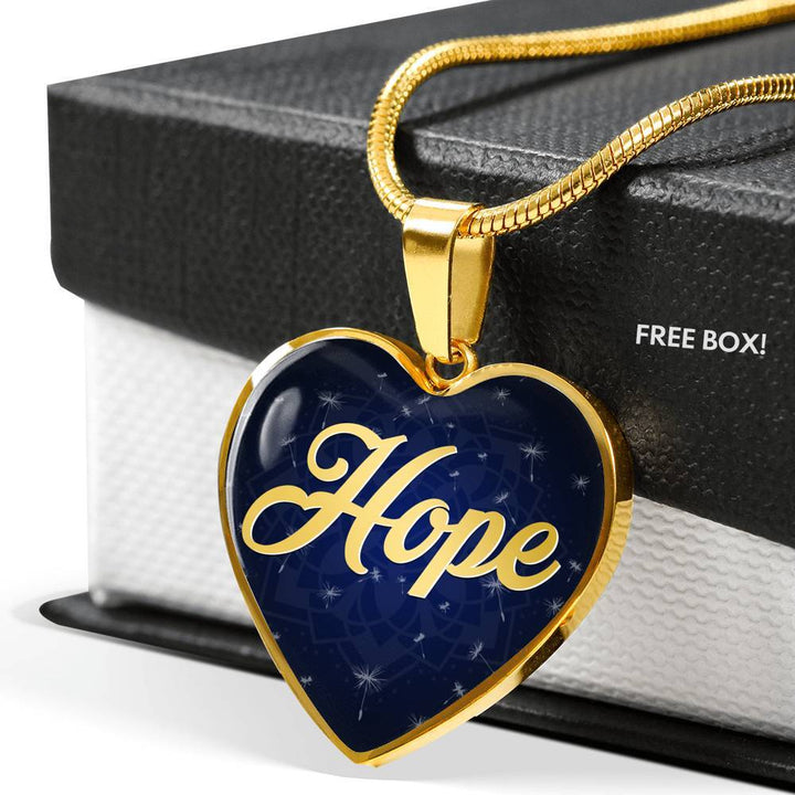 Hope Heart Style Gold Charm Necklace