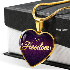 Freedom Heart Style Gold Charm Necklace