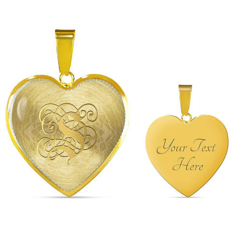 Heart Pendant Necklace with Gold S Initial, Personalized Monogram & Name