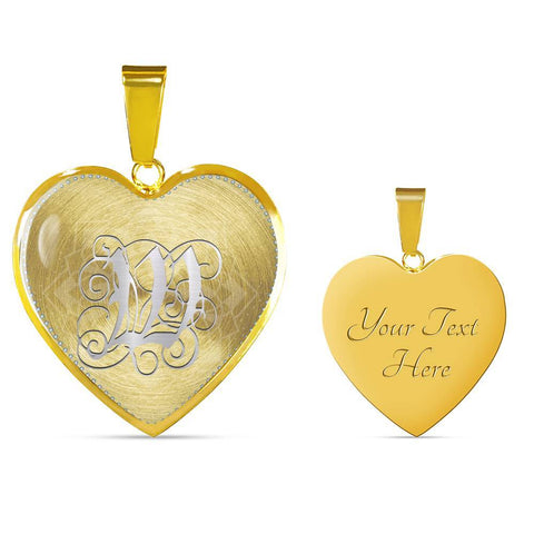 Heart Pendant Necklace with Silver W Initial, Personalized, Monogram & Name - Lyghtt