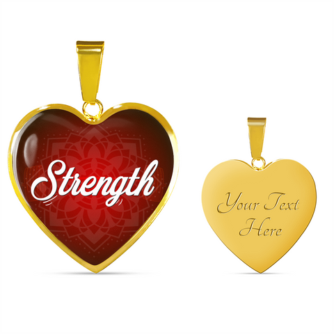 strength heart style words of affirmation gold pendant
