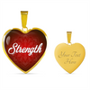 Image of strength heart style words of affirmation gold pendant