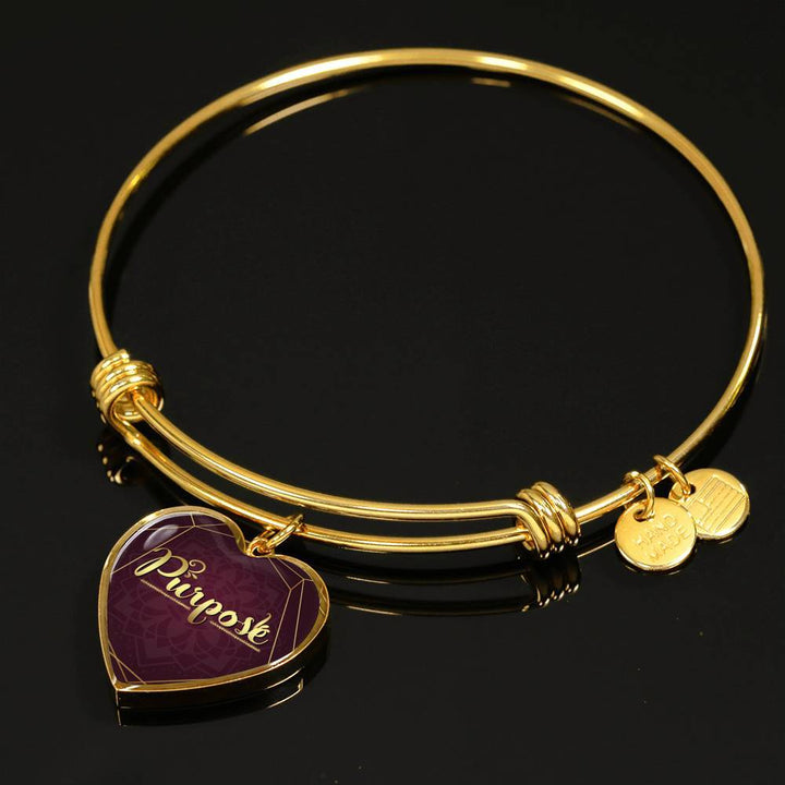 purpose heart words of intent bangle bracelet