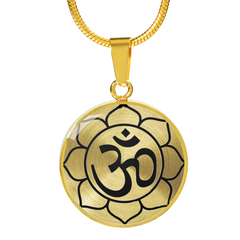 Om Lotus Mandala Charm Necklace with Engraved Personalization - Lyghtt