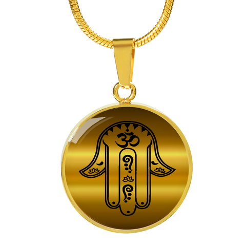 Gold Hamsa Hand Of Fatima Charm Pendant Necklace - Lyghtt