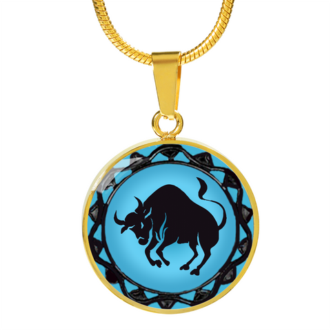 Taurus Blue Zodiac Sign Pendant Necklace - Lyghtt