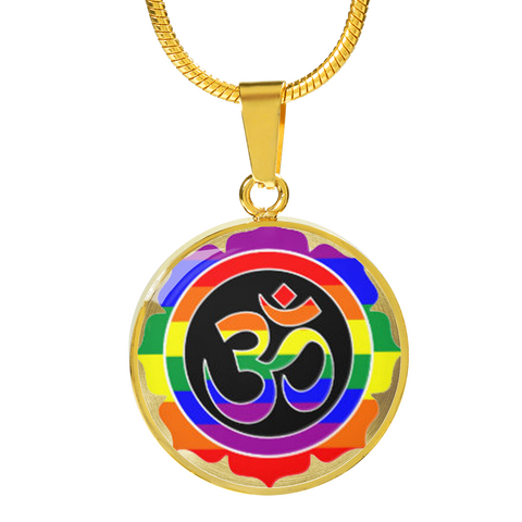 Rainbow Om Symbol Lotus Pendant Necklace - Lyghtt