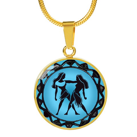 Gemini Blue Zodiac Sign Pendant Necklace - Lyghtt