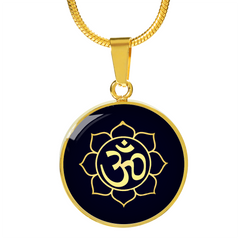 Golden Om Lotus Flower Pendant Necklace - Lyghtt