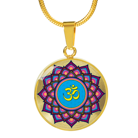 Mandala Om Lotus Flower Pendant Charm Necklace - omfinite