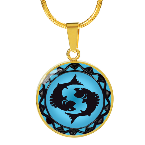 Pisces Blue Zodiac Sign Pendant Necklace - Lyghtt