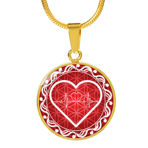 Red Love Heart Beat Pendant Necklace - Lyghtt
