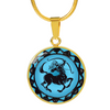 Image of Sagittarius Blue Zodiac Sign Pendant Necklace - Lyghtt