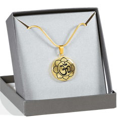 Om Lotus Mandala Charm Necklace with Engraved Personalization