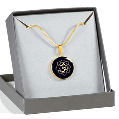Golden Om Lotus Flower Pendant Necklace