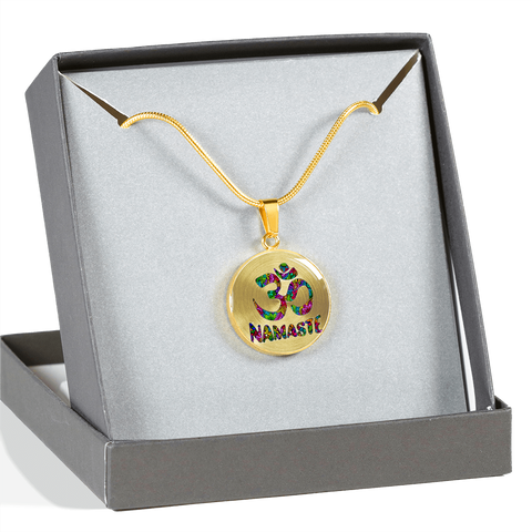 Namaste Om Symbol Pendant Necklace with Engraved Personalization - Lyghtt