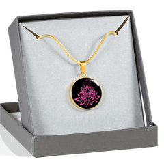 Pink on Black Lotus Pendant Necklace