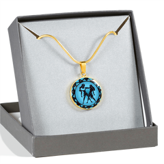 Gemini Blue Zodiac Sign Pendant Necklace