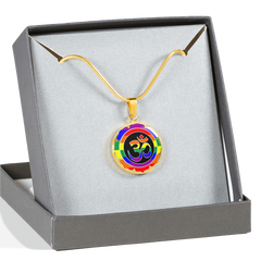 Rainbow Om Symbol Lotus Pendant Necklace