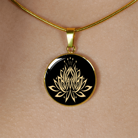 Gold Namaste Lotus Flower Charm Necklace - Lyghtt