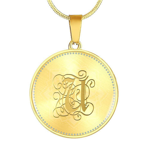 Round Pendant Necklace with Gold U Initial, Personalized Monogram & Name
