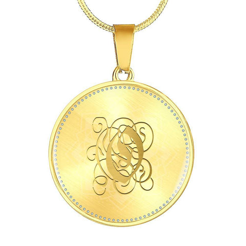 Round Pendant Necklace with Gold O Initial, Personalized Monogram & Name - Lyghtt