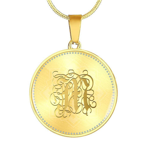 Round Pendant Necklace with Gold M Initial, Personalized Monogram & Name
