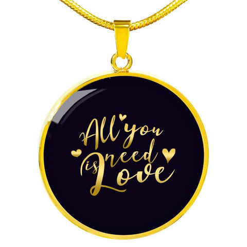 All You Need Is Love Circle Charm Necklace - Lyghtt