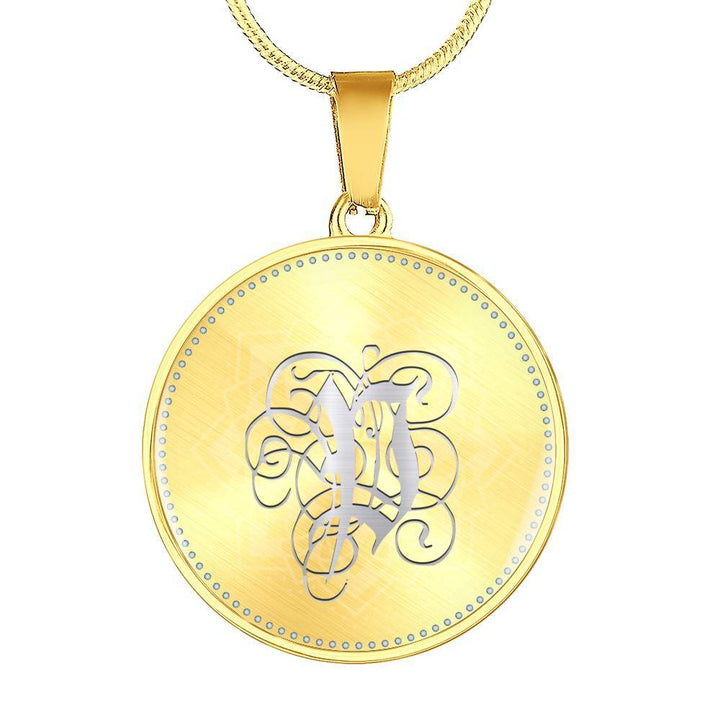 Round Pendant Necklace with Silver P Initial, Personalized, Monogram & Name