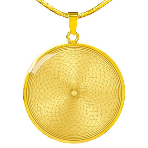 Golden Crown Chakra Sacred Geometry Round Pendant Necklace - Lyghtt