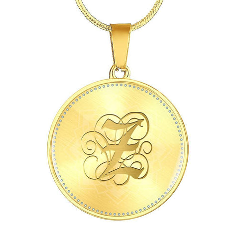 Round Pendant Necklace with Gold Z Initial, Personalized Monogram & Name