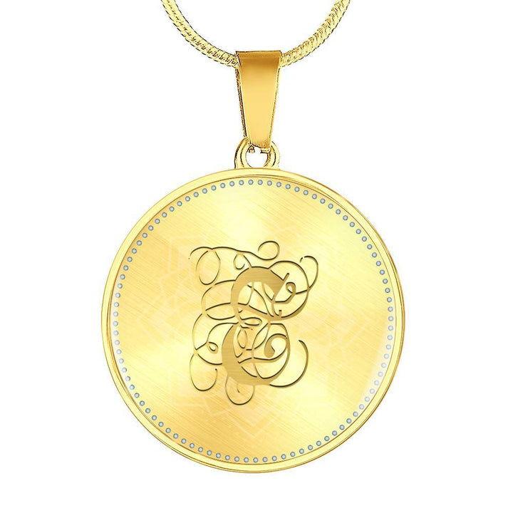 Round Pendant Necklace with Gold E Initial, Personalized Monogram & Name