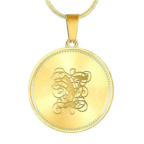 Round Pendant Necklace with Gold Y Initial, Personalized Monogram & Name