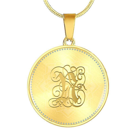 Round Pendant Necklace with Gold N Initial, Personalized Monogram & Name - Lyghtt