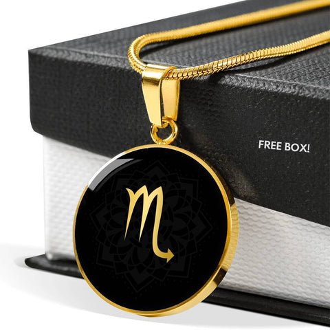 Gold on Black Scorpio Zodiac Astrology Pendant Necklace - Lyghtt
