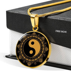 Black & Gold Ying Yang Charm Necklace