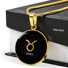 Gold on Black Taurus Zodiac Astrology Pendant Necklace