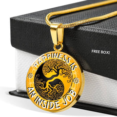 Happiness Is An Inside Job Gold Tree of Life Pendant Charm Necklace