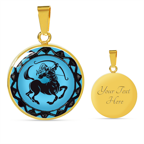 Sagittarius Blue Zodiac Sign Pendant Necklace - Lyghtt