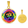Image of Rainbow Om Symbol Lotus Pendant Necklace - Lyghtt
