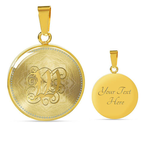 Round Pendant Necklace with Gold W Initial, Personalized Monogram & Name