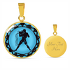 Image of Aquarius Blue Zodiac Sign Pendant Necklace - Lyghtt