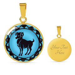 Aries Blue Zodiac Sign Pendant Necklace