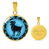 Image of Aries Blue Zodiac Sign Pendant Necklace - Lyghtt