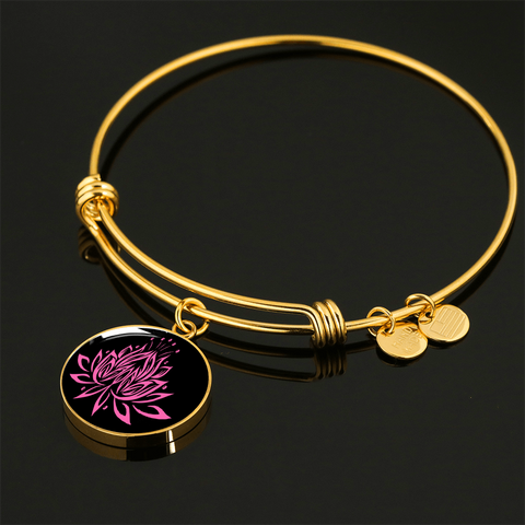 Amazing Pink on Black Lotus Bangle Bracelets - Lyghtt