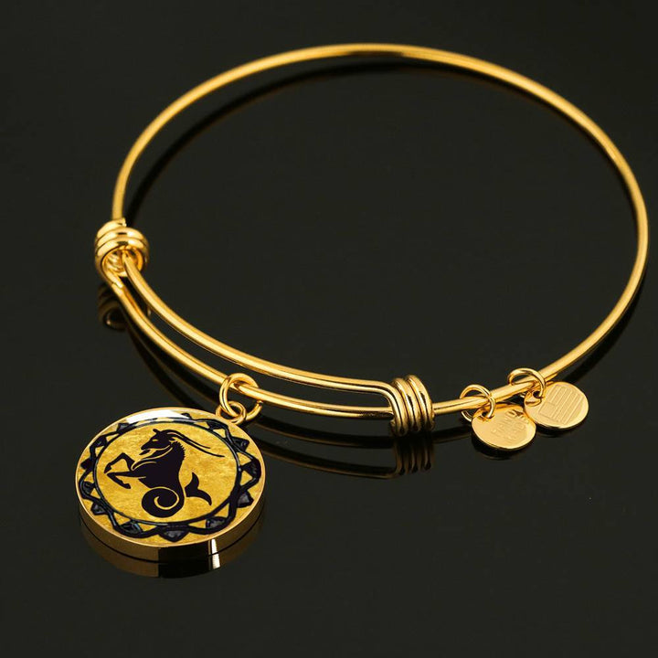 Capricorn Gold Zodiac Bangle Bracelet - Lyghtt