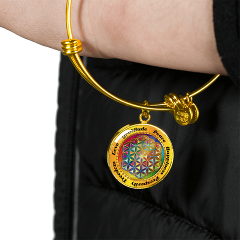 Affirmation Flower of Life Bangle Bracelet with Circle Charm - Lyghtt