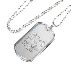 Dog Tag Pendant Necklace with Silver W Initial, Personalized, Monogram & Name