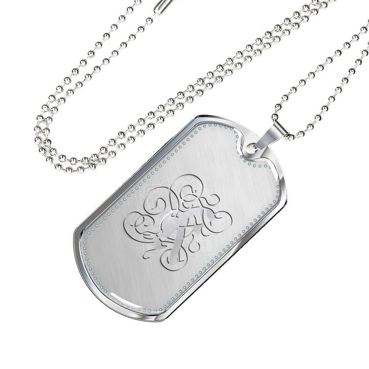 Dog Tag Pendant Necklace with Silver K Initial, Personalized, Monogram & Name - Lyghtt